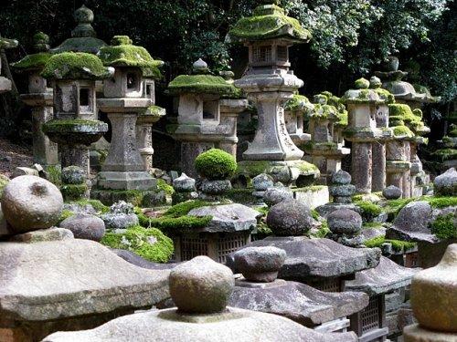 Quelques unes des milliers de lanternes de pierre du sanctuaire Kasuga Taisha à Nara. Pendant les festivités de Setsubun Mantoro (du 2 au 4 février) de Obon Mantoro (du 13 au 15 aout), les 3.000 lanternes du temple sont alors allumées en même temps, produisant une scène spectaculaire.