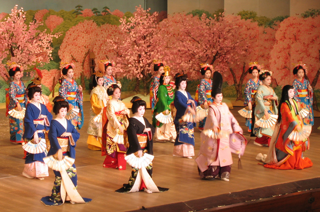 Geisha and maiko on stage, wearing varied kimonos, in front of a backdrop of cherry blossoms